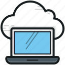 cloud computing, cloud connection, cloud drive, laptop, storage cloud icon