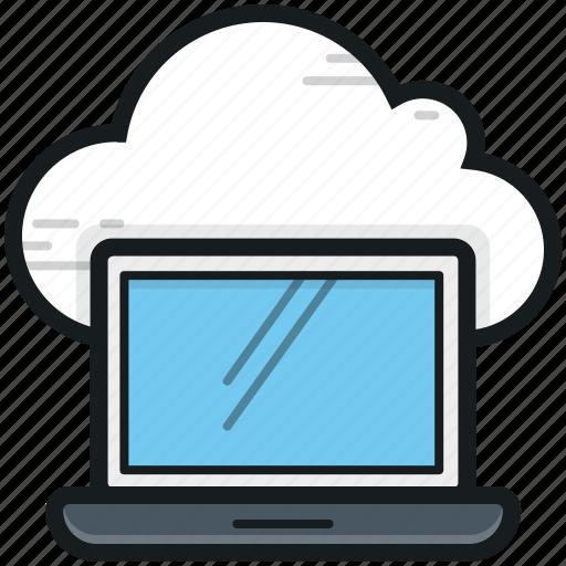 cloud computing, cloud connection, cloud drive, laptop, storage cloud icon