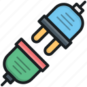 electrical plug, plug, plug connection, plug in, power plug icon