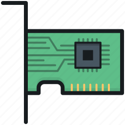 computer hardware, lan card, network card, pc card, sound card icon
