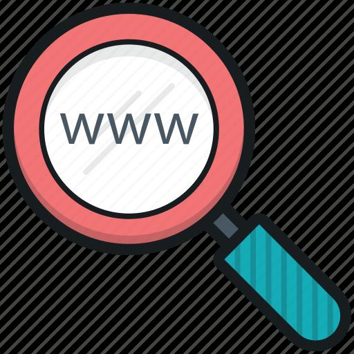 internet exploring, internet search, magnifier, web browsing, web search icon