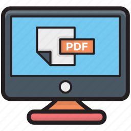 monitor, online pdf, pdf document, pdf file, pdf on screen icon