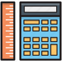 calculating machine, calculator, mathematics, ruler, scale icon
