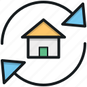 building, home renovation, home repairing, refresh, refresh home icon