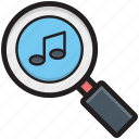 loupe, magnifier, magnifying lens, music note, music search icon