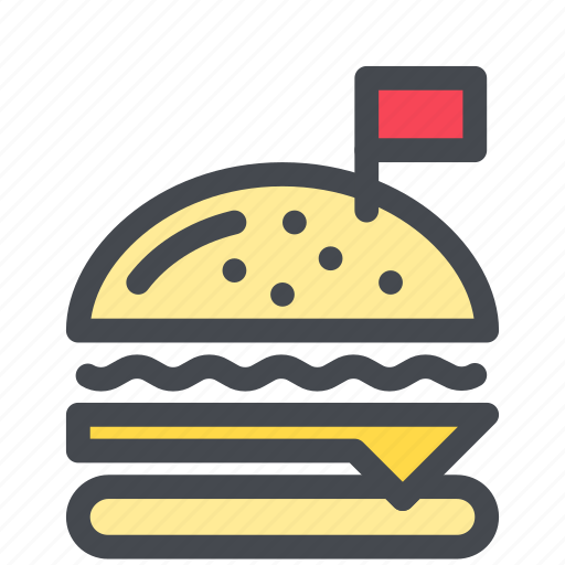 burger, fastfood, flag, food, hamburger, meal icon