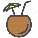 cocktail, coconut, drink, straw, tropical, umbrella icon