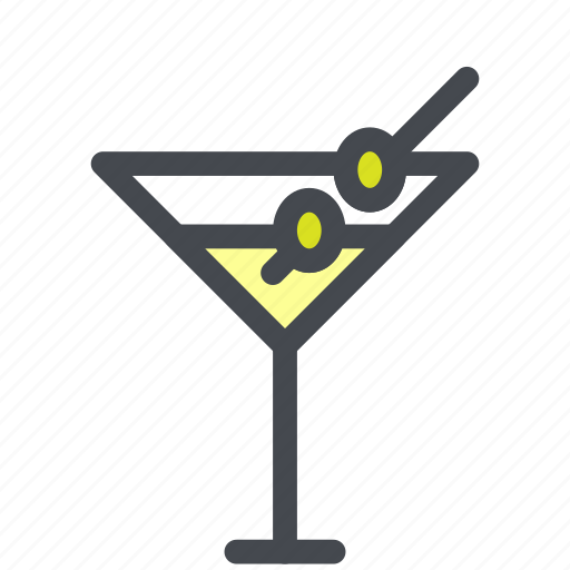 alcohol, cocktail, drink, martini, olives icon