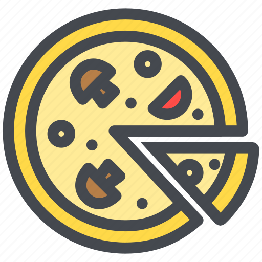 food, mushroom, pizza, slice, vegetable icon