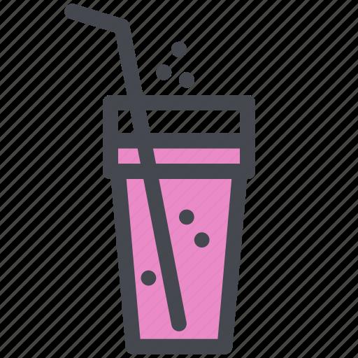 beverage, drink, glass, soda, straw icon
