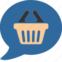 bag, business, commerce, dialog, mall, shopping, speak icon