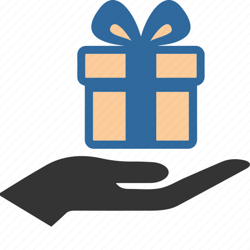 birthday, box, business, gift, giftbox, hand, shopping icon