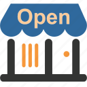 business, commerce, mall, market, open, shopping, shops icon