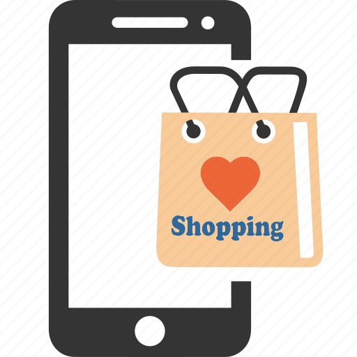 bag, cloud, computing, online, sale, shopping, smartphone icon