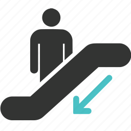 arrow, down, mall, people, shopping, stair, traffic icon