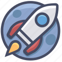 moon, rocket, space icon