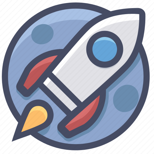 astronomy, moon, planet, rocket, space, spaceship icon