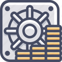 bank, business, money, safe icon
