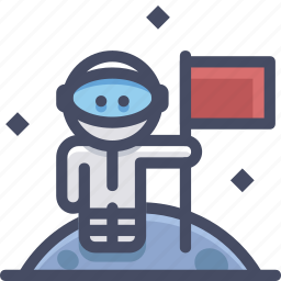 cosmonaut, moon, space icon