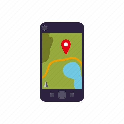 camping, equipment, gps, map, naviagtion, outdoors, smartphone icon
