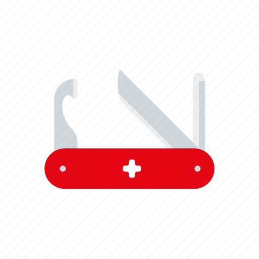 camping, equipment, knife, outdoors, swiss, tools icon
