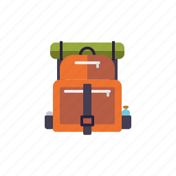 backpack, camping, equipment, hiking, luggage, outdoors, tour icon