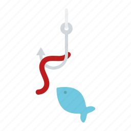 camping, equipment, fish, fishing, hook, outdoors, worm icon