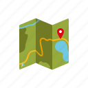 camping, equipment, map, navigation, outdoors icon