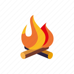 camp fire, camping, equipment, flame, log, log fire, outdoors icon