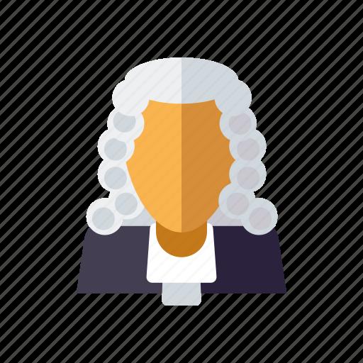 crime, judge, justice, law, wig icon
