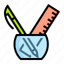 equipment, holder, office, pen, ruler icon
