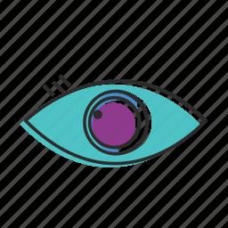 eye, find, glass, human eye, view, watch, zoom icon