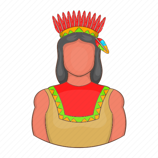 american, cartoon, feather, indian, man, native, traditional icon