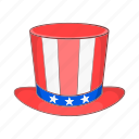 america, american, cartoon, hat, star, top, usa icon