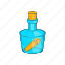 bottle, cartoon, help, letter, message, note, sea icon
