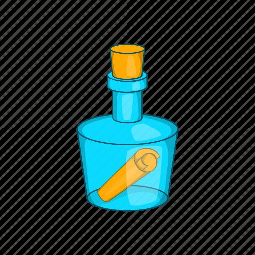 bottle, cartoon, help, letter, message, note, sea icon