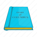 cartoon, columbus, diary, old, page, paper, retro icon