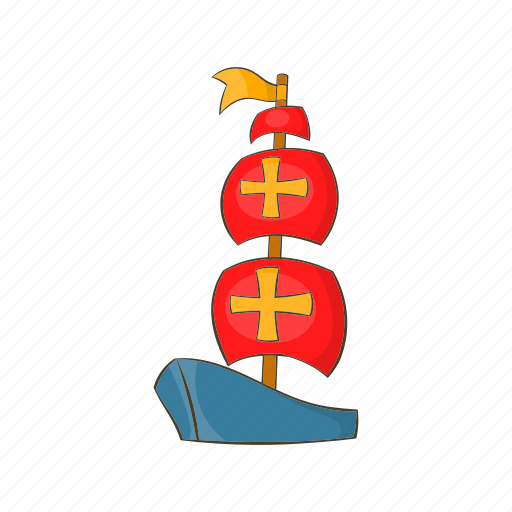 boat, cartoon, ocean, sail, sea, ship, vessel icon