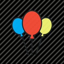 balloons, birthday, celebration, decoration, event, festival, graduation, helium, promo, promos, vacation icon