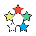 best, diversity, favorite, featured, five, fivestar, popular, quality, rate, rating, recommend, review, stars icon