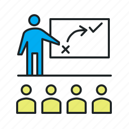 approach, audience, auditorium, class, classwork, coach, coaching, conference, course, education, lecture, master class, mentor, mentoring, seminar, solve, strategic, teaching, theory, training, viewers, workshop icon