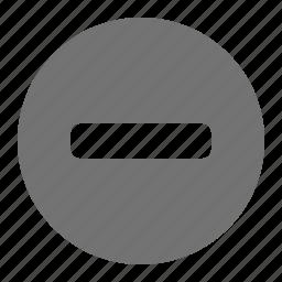 close, delete, minus, negative, reduce, remove, subtract icon