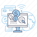 finance, online shopping, pay per click, payment icon