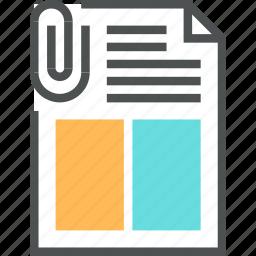 attachment, clip, data, document, file, paper, presentation icon