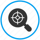 analyse, evaluation, interpret, maginify idea, search target, verify, zoom target icon