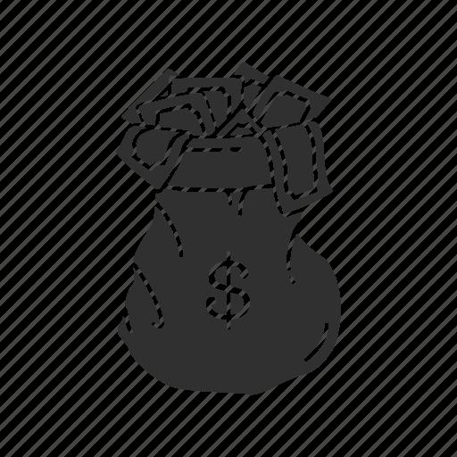 bag, bag of cash, cash, money icon