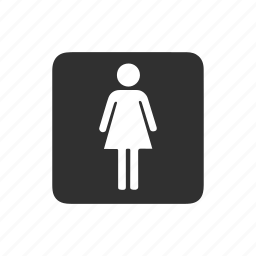 female restroom, female sign, restroom, sign board icon