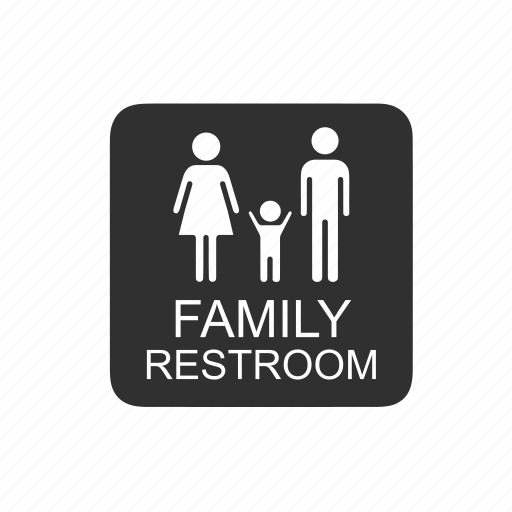 family, family restroom, public restroom, restroom icon