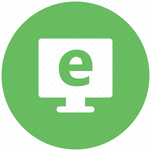 computer, computer monitor, e learning, e-learning, explorer sign, monitor icon