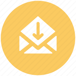 email arrow, envelop, incoming email, letter, mail, receive email icon